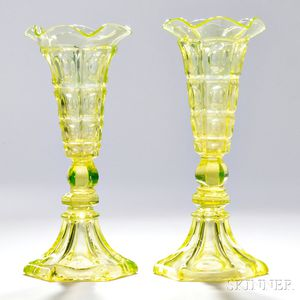 Pair of Canary Yellow Pressed Glass Four-printie Block Pattern Vases