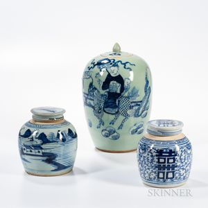 Three Blue and White Covered Jars