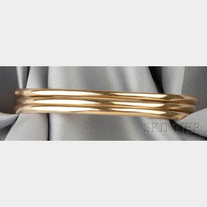 Three 18kt Gold Bangle Bracelets