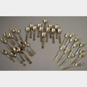 Approximately Thirty-five Sterling and Coin Silver Spoons