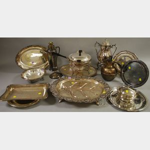 Approximately Fifteen Silver Plated Serving and Table Items