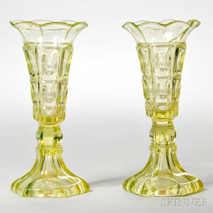 Pair of Canary Yellow Pressed Glass Three-printie Block Pattern Vases