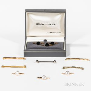 Boxed Stud Set, Set of Three 14kt Gold Studs, and Group of Tie Bars