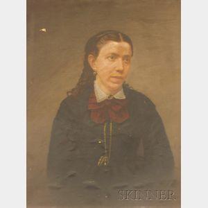 Unframed Oil on Paper Portrait of a Woman