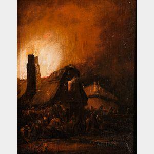 School of Egbert Lievensz van der Poel (Dutch, 1621-1664)      Night Scene with Thatched Cottage Ablaze