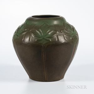 Van Briggle Art Pottery Leaf Decorated Vase