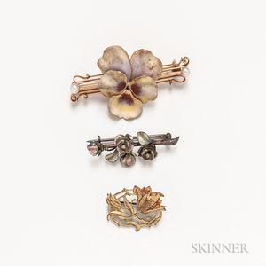 Three Enameled Flower Brooches