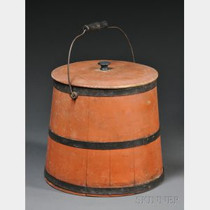Red-painted Lidded Pail