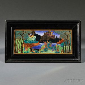 Wedgwood Fairyland Lustre Picnic by a River   Plaque