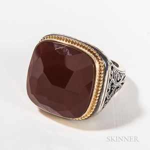 Gerochristo Sterling Silver, 18K Gold and Carnelian Gentleman's Ring