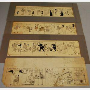 "Four Pieces of Wallace Goldsmith ""Mr. Asa Spades"" Original Newspaper Cartoon Art"