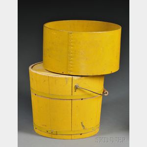Yellow-painted Wooden Measure and Bucket