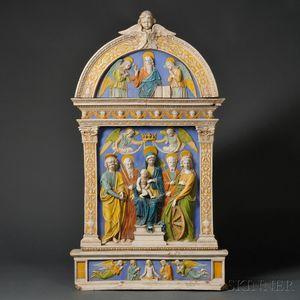 Della Robbia-style Ceramic Wall Plaque Depicting a Sacra Conversazione