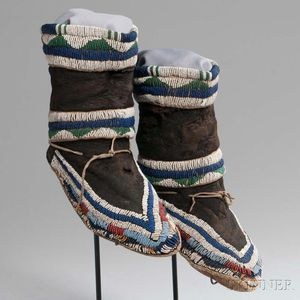 Ute Beaded Cloth and Hide Moccasins