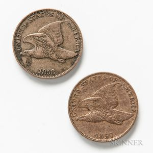 1857 and 1858 Small Letters Flying Eagle Cents.