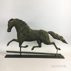 Full-body Molded Sheet Copper Running Horse Weathervane
