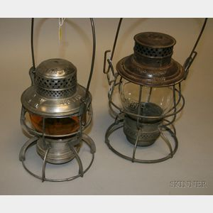 Two Tin Midwest Railroad Lanterns