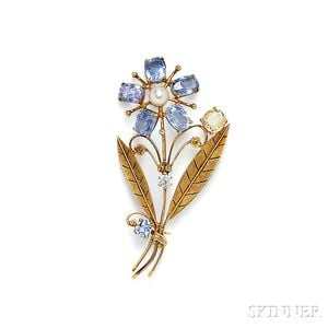 14kt Gold and Sapphire Flower Brooch, Tiffany & Co.