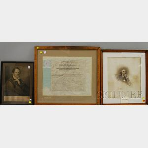 Two Framed 19th Century Steel Engraving Portraits and Framed 19th Century Yale   University Medical School Diploma