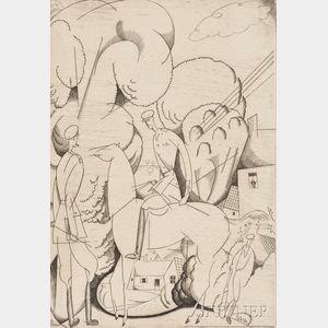 Jean-Émile Laboureur (French, 1877-1943)      Cavaliers Anglais en Picardie