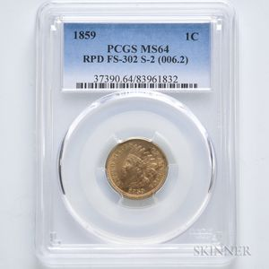 1859 Indian Head Cent, Repunched Date, FS-302, Snow-2, PCGS MS64.