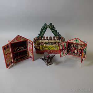 Two Carved and Painted Figural Dioramas and Two Pottery Scenes