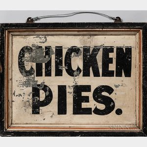 """Tin and Wood """"Chicken Pies"""" Advertising Sign"""