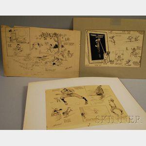 Three Pieces of Wallace Goldsmith Circa 1910 Baseball Original Newspaper Cartoon   Art
