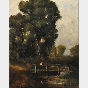 Attributed to David Cox the Elder (British, 1783-1859)     Figure Crossing a Footbridge
