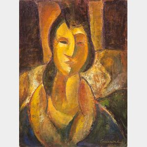 Framed Giclee on Canvas Portrait of a Woman