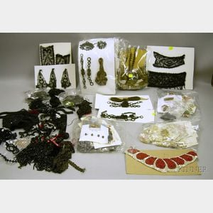 Lot of Antique and Vintage Buttons, Beading, and Trims.