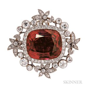 Edwardian Rubellite and Diamond Brooch