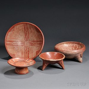Four Pre-Columbian Painted Pottery Bowls