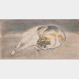 Théophile Alexandre Steinlen (French/Swiss, 1859-1923)      Chat couché allongé de droite à gauche, tête appuyée contre les pattes