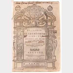 Euclid (fl. 300 BC) Elementa Libri XV.   [and] Posteriores Libri Sex.