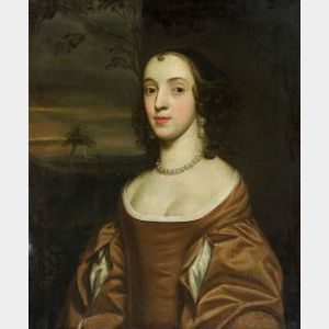 Manner of Sir Peter Lely (British, 1618-1680)  Portrait of a Lady in Russet With Pearls