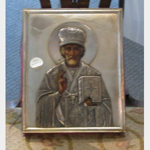 Russian Icon of a Bishop Saint with Goldwashed Silver Riza, riza hallmarked 1908-17, 8 3/4 x 7 in.