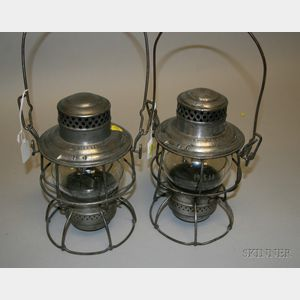 Two Adams & Westlake Tin Lanterns