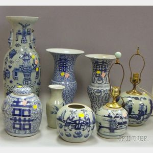 Eight Blue and White Asian Porcelain Items