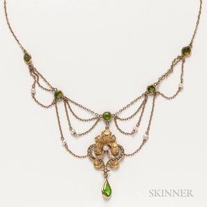 Art Nouveau Gold and Green Glass Festoon Necklace