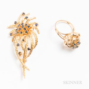 Two Pieces of 14kt Gold and Sapphire Flower Jewelry