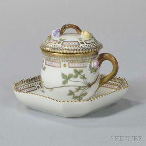 "Twelve Royal Copenhagen ""Flora Danica"" Covered Cups and Stands"