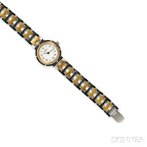 "Lady's Stainless Steel ""Clipper"" Wristwatch, Hermes"