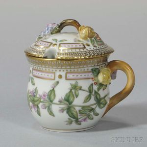 "Four Royal Copenhagen ""Flora Danica"" Condiment Cups with Covers"