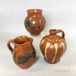 Three Pieces of Redware Pottery