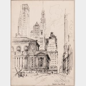 Vernon Howe Bailey (American, 1874-1953)    Two Ink Drawings of New York City: A Midtown Silhouette
