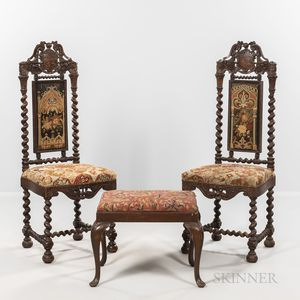 Pair of Carved Oak Side Chairs and a Footstool
