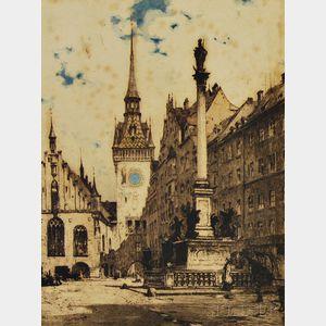 Luigi Kasimir (Austrian, 1881-1962)      Der Marianplatz mit dem alten Rathaus