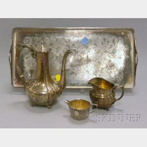 Sterling Coffeepot and Pitcher, another Silver Pitcher, and a Silver Plated Tray