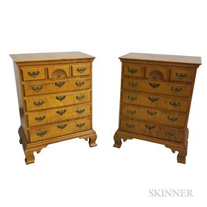 Pair of Diminutive Eldred Wheeler Chippendale-style Tiger Maple Chests